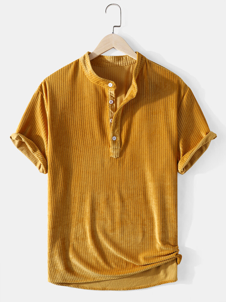 Corduroy Mens Solid Color Texture Short Sleeve Casual Henley Shirts