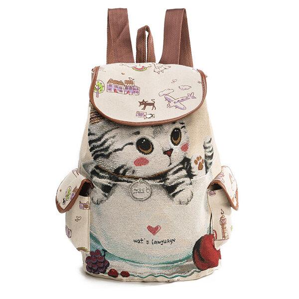 Canvas Casual Cartoon Cat Pattern School Bag Backpack Shoulder Bags Student Bags