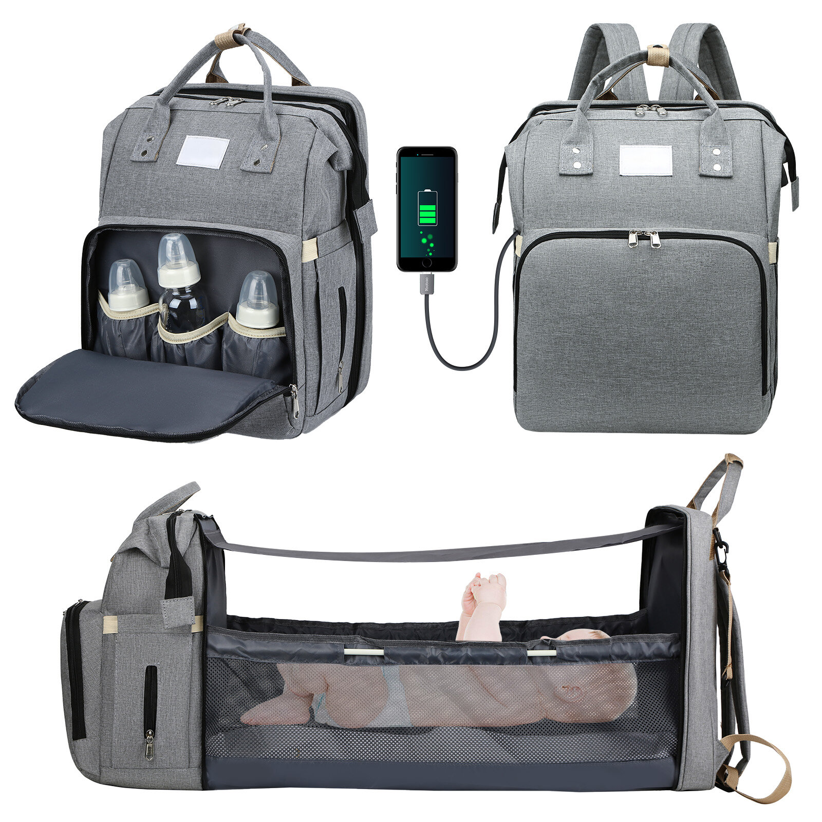3-n-1 Diaper Bag Backpack with Changing Station and Travel Bed