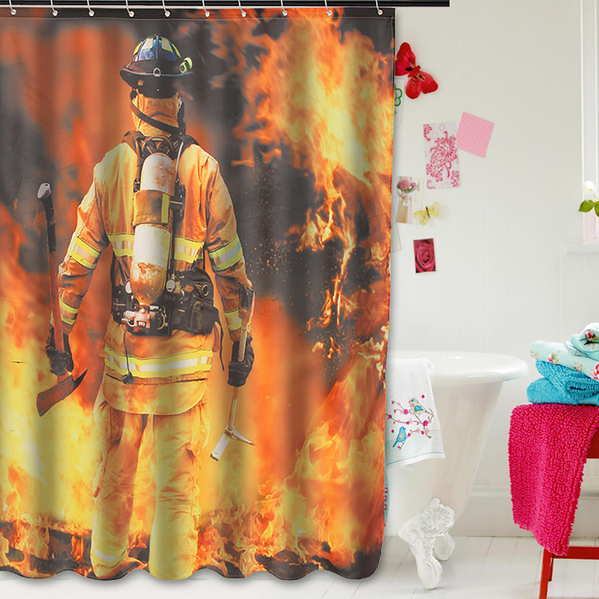 Waterproof Polyester Fabric Shower Curtain Firemen Design Bathroom Home Decoration