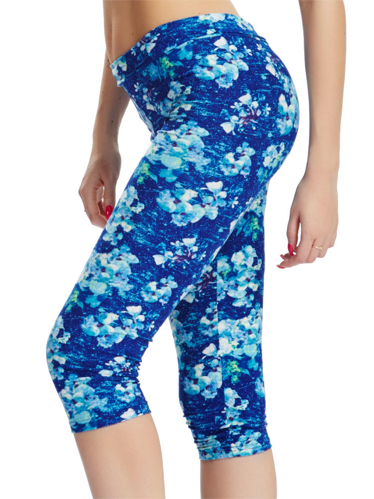 Women Work Out Cropped Trousers Multi Pattern Printed Sports Yoga Stretch Leggings Pants
