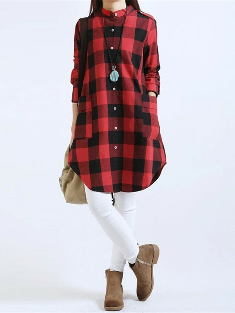Mulheres Casual Long Sleeve Plaid Loose Pocket Button Blusas Longas