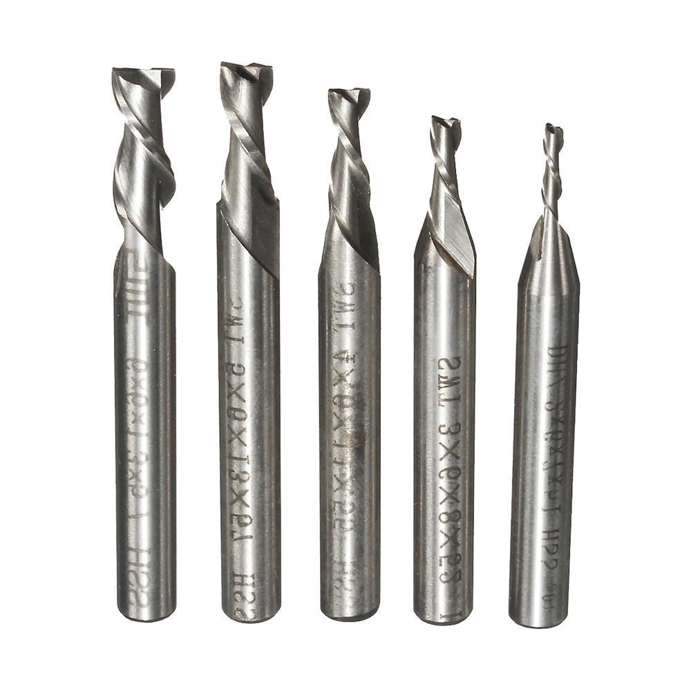 5pcs 2 Flute 2/3/4/5/6mm 6mm Shank Milling Cutter HSS End Mill CNC Engraving Bit