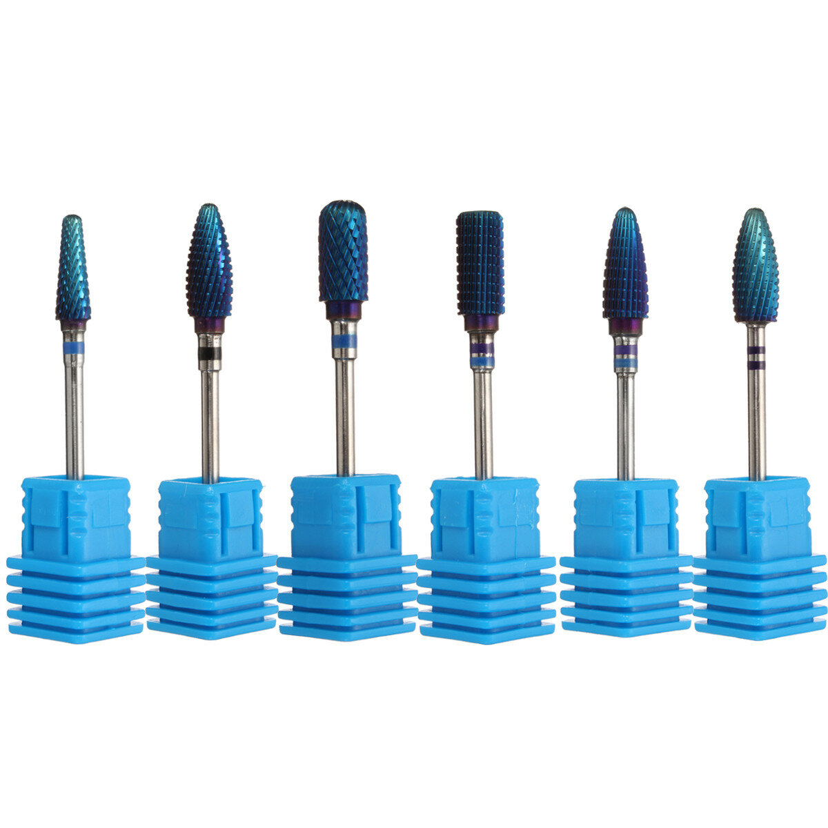 Pro Electric Blue Cylinder Coated Carbide File Drill Bit Nail Art Manicure Pedicure Kit