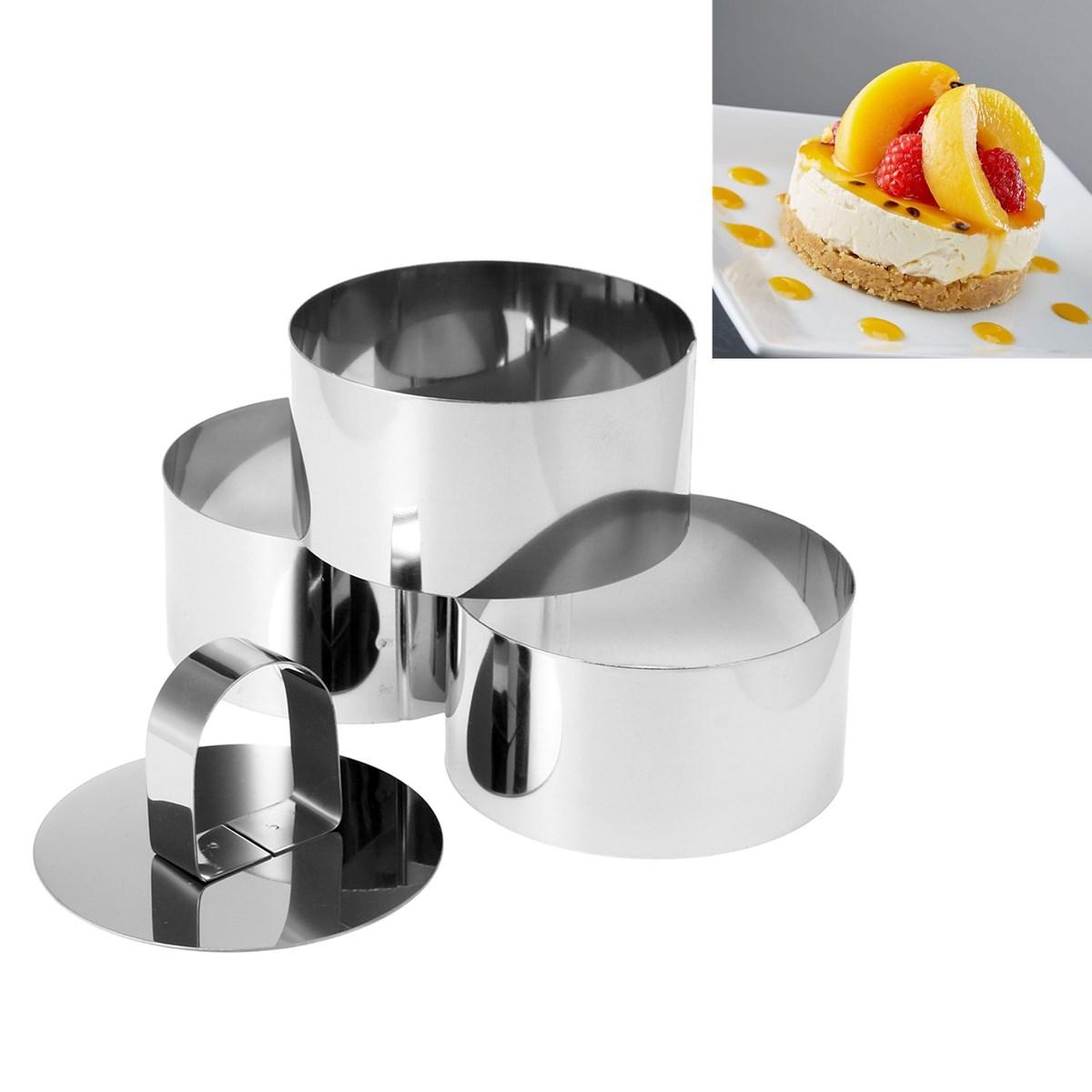4Pcs Stainless Steel DIY Cake Mould Food Cooking Pusher & Round Rings Baking Tools фото