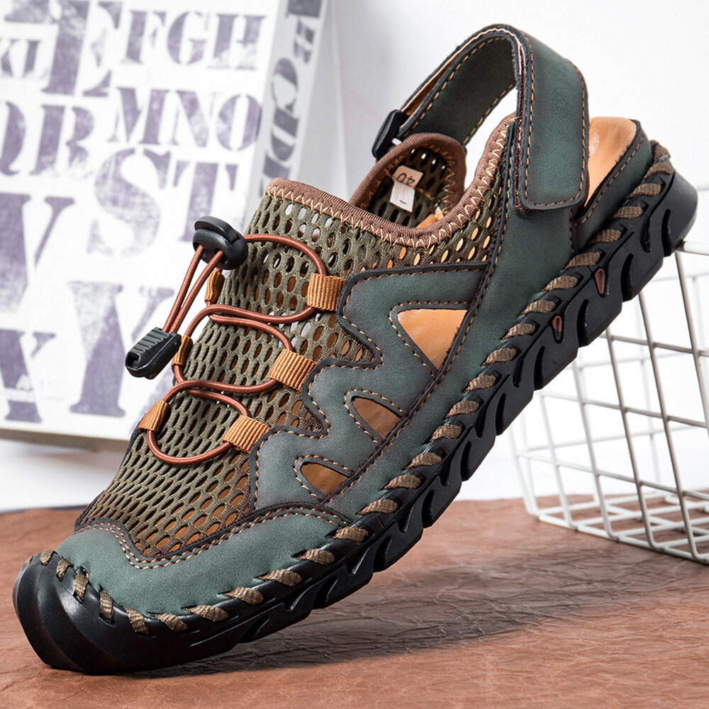 Banggood coupon: Men Genuine Leather Hand Stitching Breathable Mesh Casual Soft Sandals