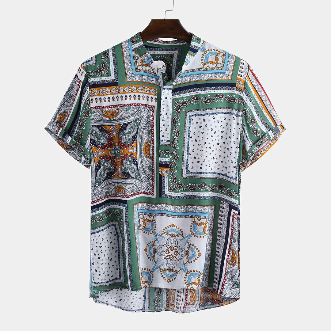Mens Ethnic Style Color Block Printed Pattern Loose Comfy Casual Shirts