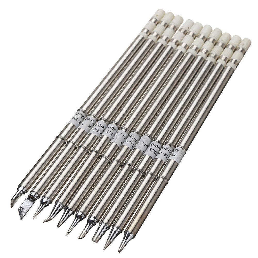 Drillpro 10pcs T12 Solda Conjunto de pontas de ferro para HAKKO FX951 FX952