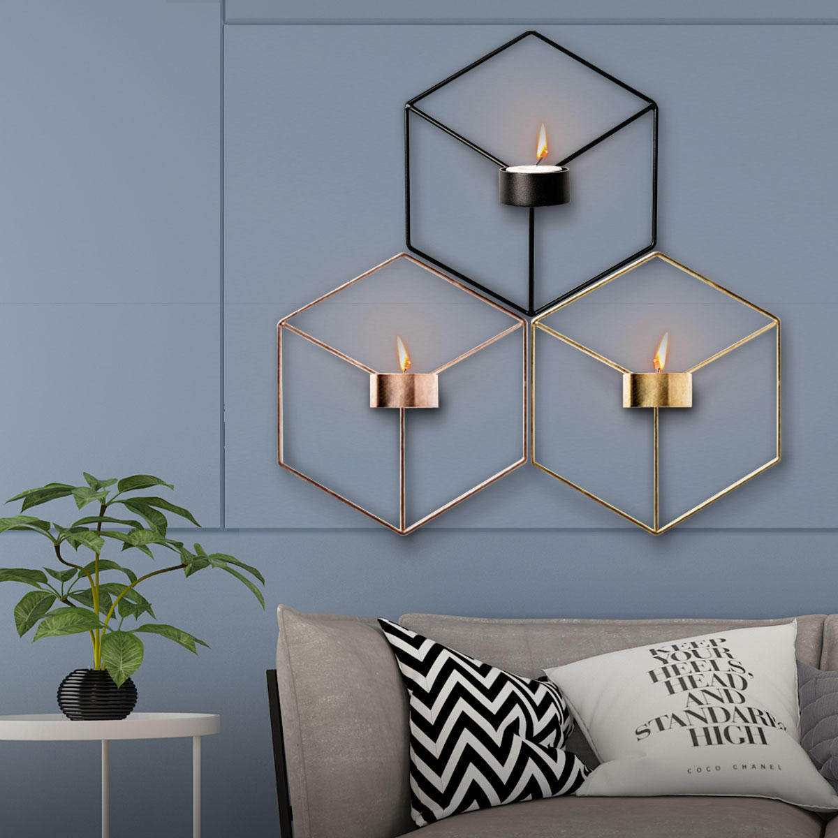3d Geometric Nordic Style Candle Holder Iron Candlestick Handmade Wall Art Room Us 9 81
