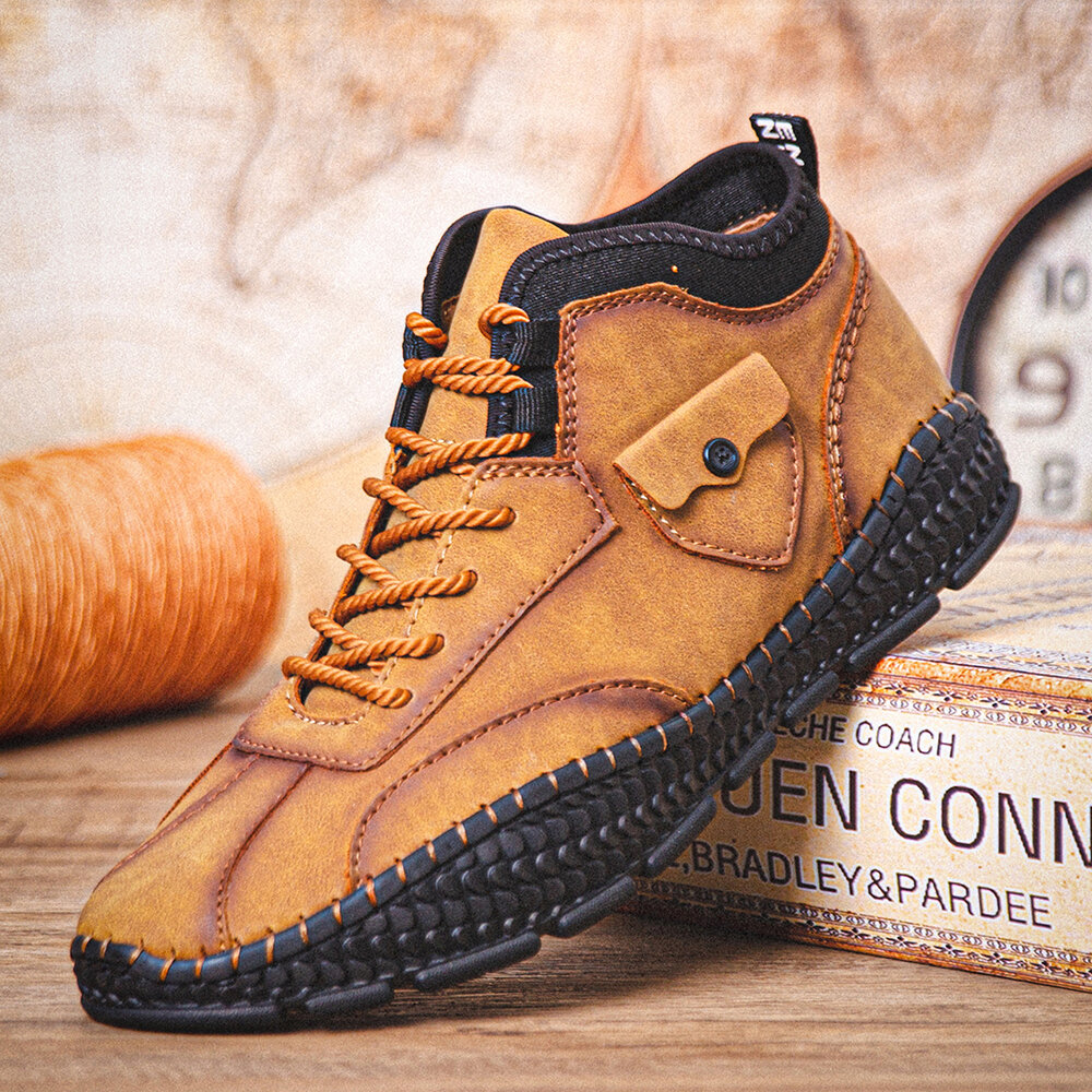 Men Microfiber Leather Breathable Hand Stitching Soft Crocodile Grain Sole Lace Up Casual Shoes