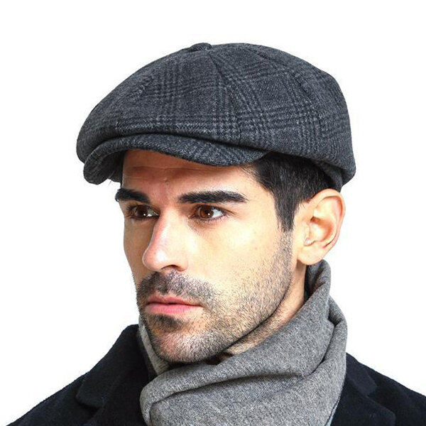 Men Vintage Wool Gird Painter Beret Hat Winter Warm Gentleman Octagonal Newsboy Cap