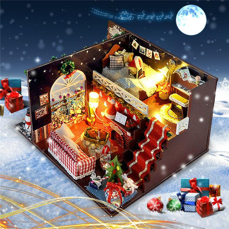 T-Yu DIY Kits Christmas House Decoration Miniatura Madera Muñeca Muebles Modelo Ensamblaje