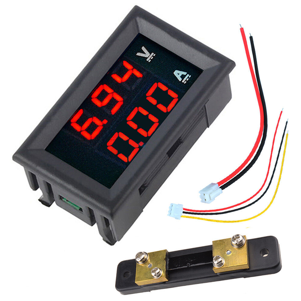"0.56"" DC 100V 50A Red+Red Dual LED Display Mini Digital Voltmeter Ammeter Panel Amp Volt Voltage Current Meter Tester"