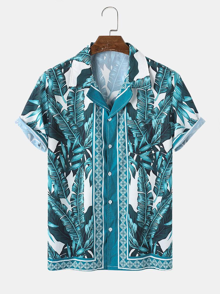 Mens Casual Baroque Style Plant Print Short Sleeve Shirts