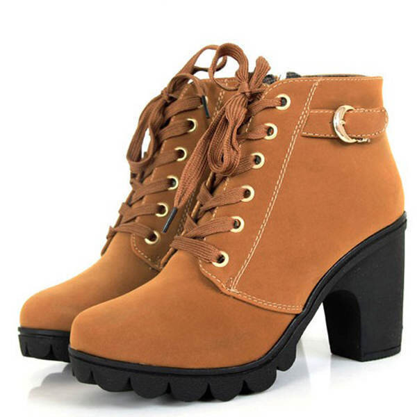 Round Toe Thick High Heel Lace-up Side Zipper Women Boots