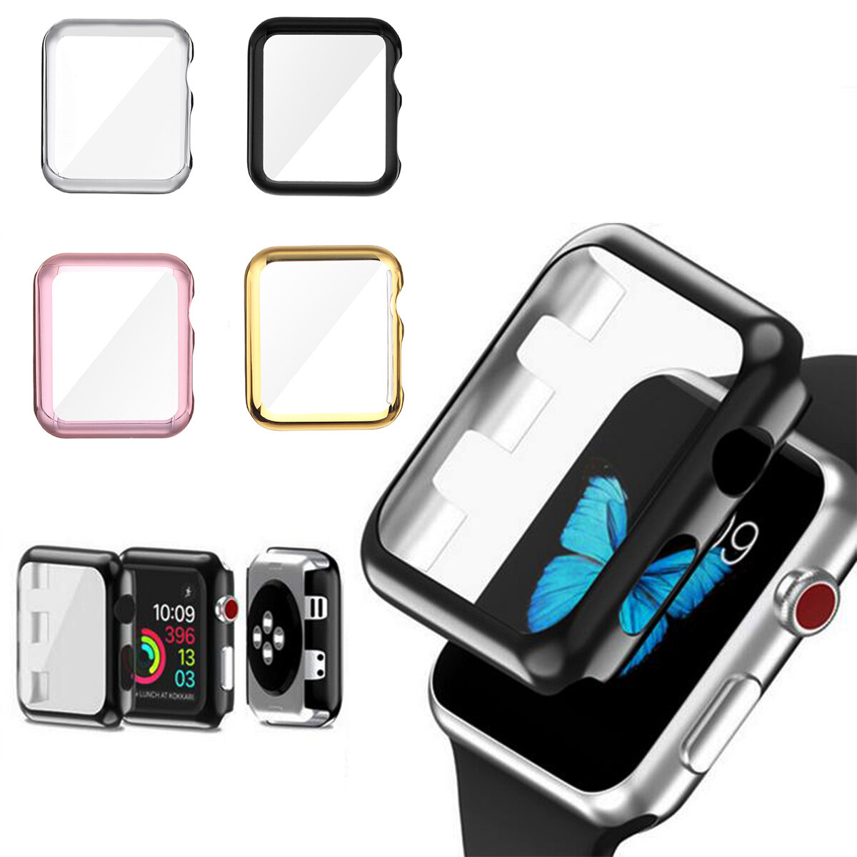 san francisco 02cf8 a1065 38/42mm Plating PC Front Case Screen Protector Cover for Apple Watch Series  3