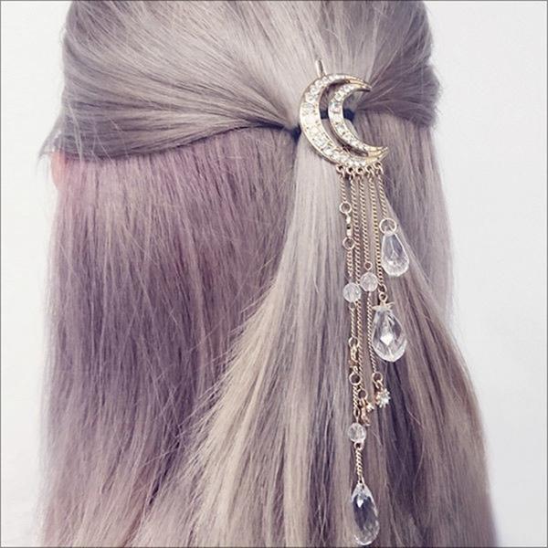 Retro Diamond Tassels Crescent horquilla estrellas Colgante accesorios para el cabello para Mujer