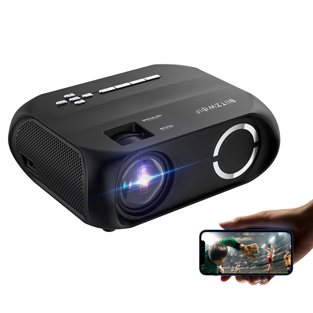 BlitzWolfBW-VP11 LCD LED HD Projector 6000 Lumens Beamer 1280x720 Pixels Wireless Phone Same Screen 16.7 Million Colors 3500:1 Contrast Ratio Vertical Keystone Mini Portable Home Theater Outdoor Movie