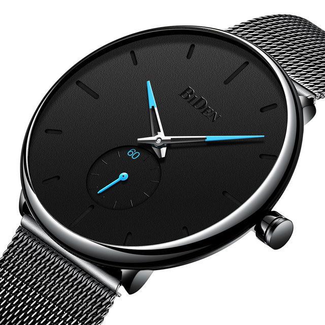 Biden 0124 Ultra Thin Casual Style Men Wrist Watch Mesh Stainless Steel Strap Quartz Watches