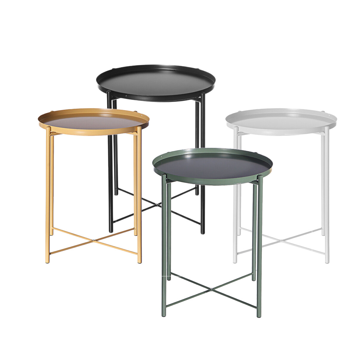 Round Side End Table Iron Paint Metal Gardening Flower Stand for Living Room