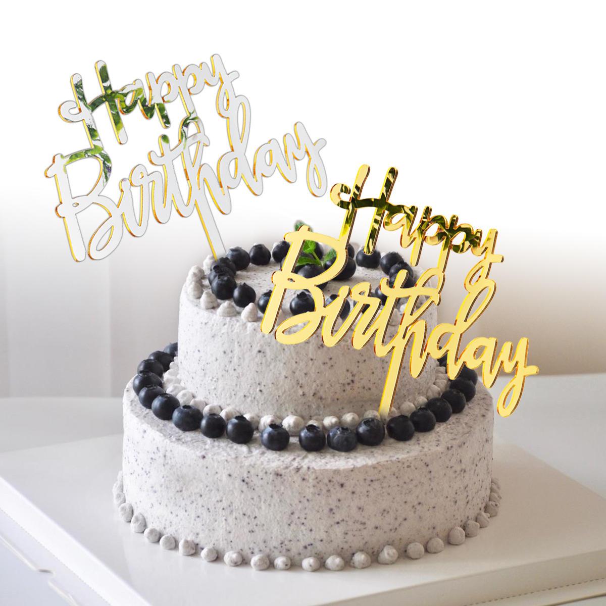 Cool Acrylic Mirror Happy Birthday Gold Silver Birthday Cake Topper Funny Birthday Cards Online Alyptdamsfinfo