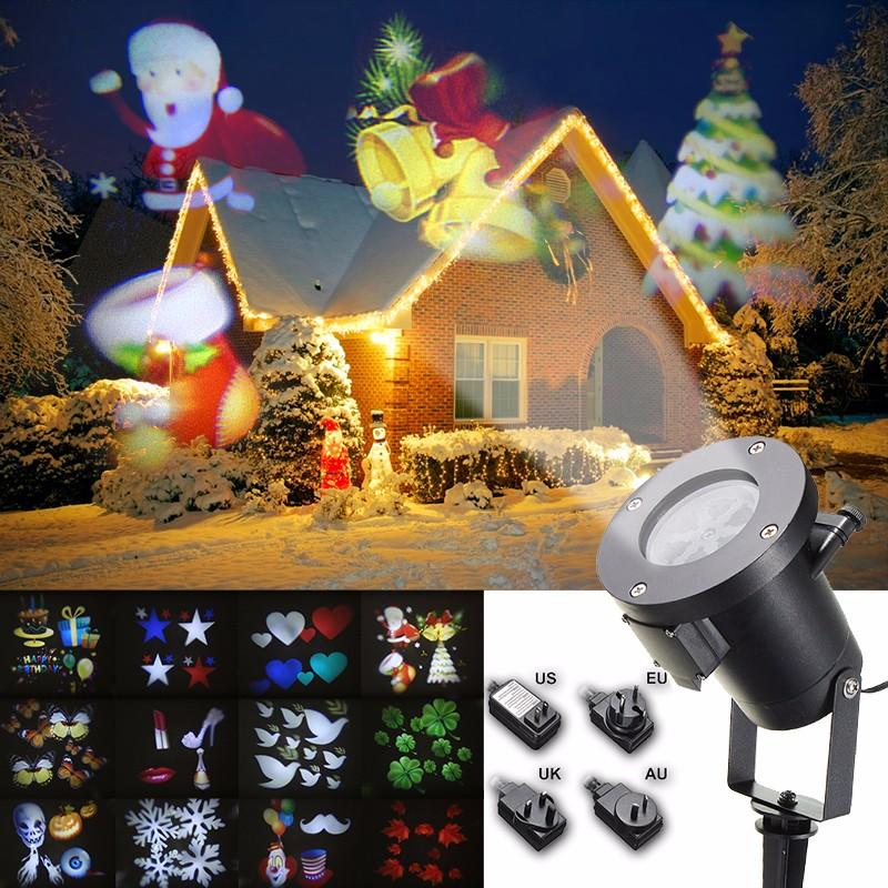 Christmas Projector.12pattern Waterproof Led Moving Laser Projector Stage Light Christmas Halloween Lamp
