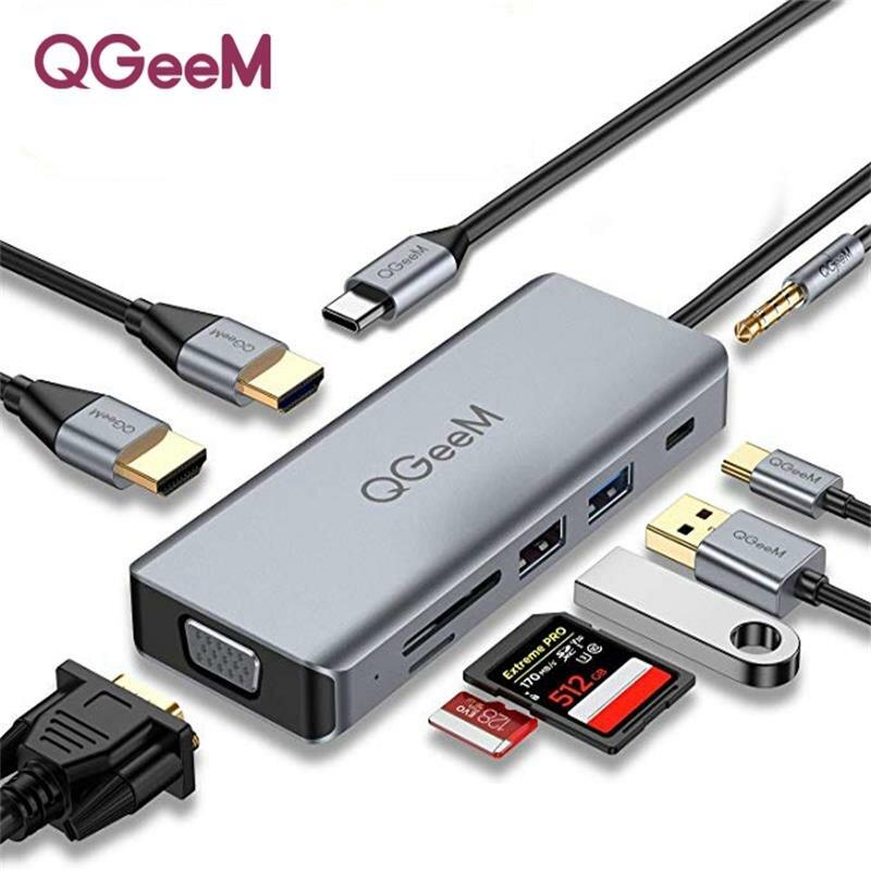 QGeeM 9 In 1 Triple Display USB-C Hub Docking Station Adapter With Dual 4K HDMI HD Display / 1080P VGA / 87W USB-C PD3.0