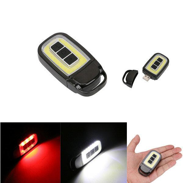 Mini bärbar USB uppladdningsbar COB LED-ficklampa Nyckelkedja Facklampa Ljus Utomhus Camping Lampa