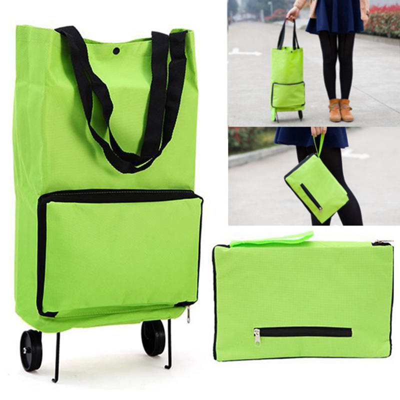 Green Protable Ping Trolley Tote Bag Foldable Cart Rolling Grocery Wheels Kitchen Food Holder