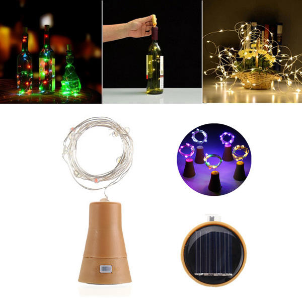 Solar Powered 8LEDs Cork Shaped Silver Wire Wine Bottle Fairy String Light for Christmas Party