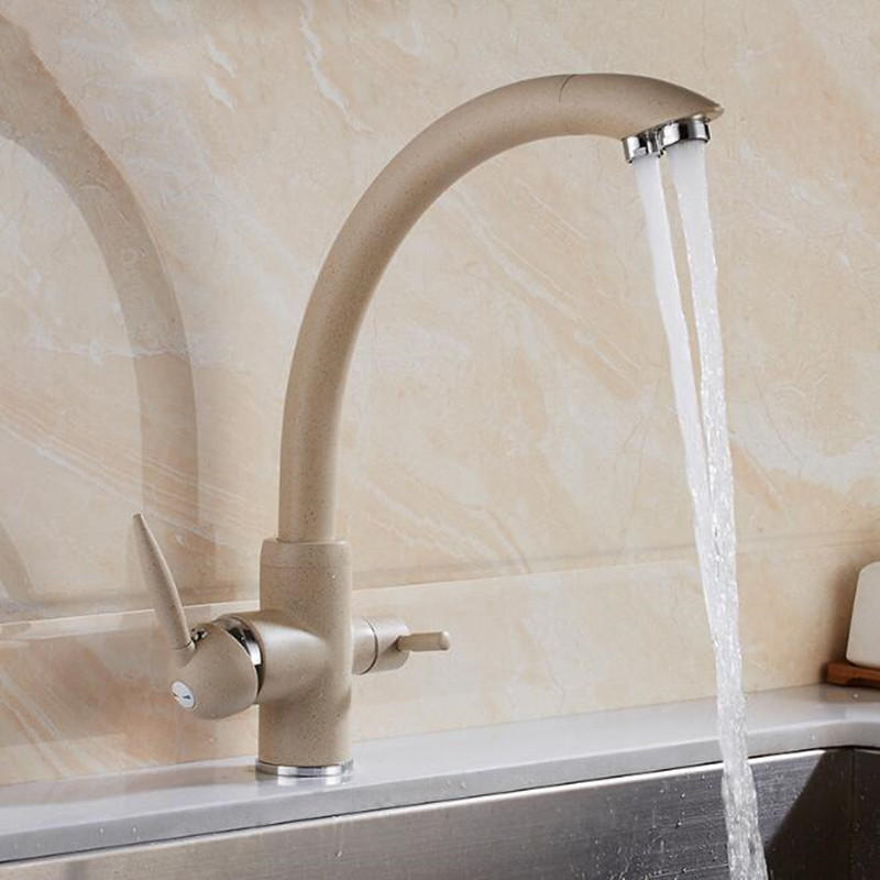 Water Purifier Kitchen Sink Faucet Hot Cold Mixer Tap Double Handles Double Water Outlet Deck Mount фото