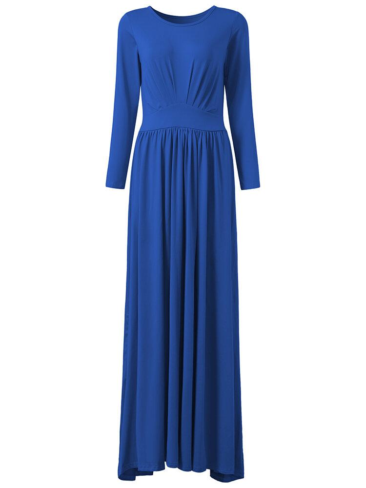 सुरुचिपूर्ण महिला ओ-गर्दन लंबी आस्तीन ठोस रंग उच्च कमर मैक्सी ड्रेस