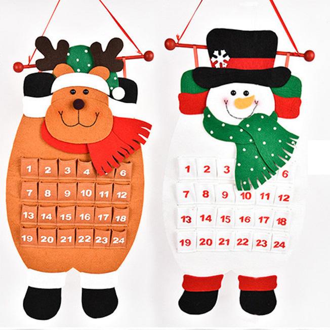 Christmas Countdown Calendar Snowman Deer Hanging Advent Calendar Decorations Home Decor