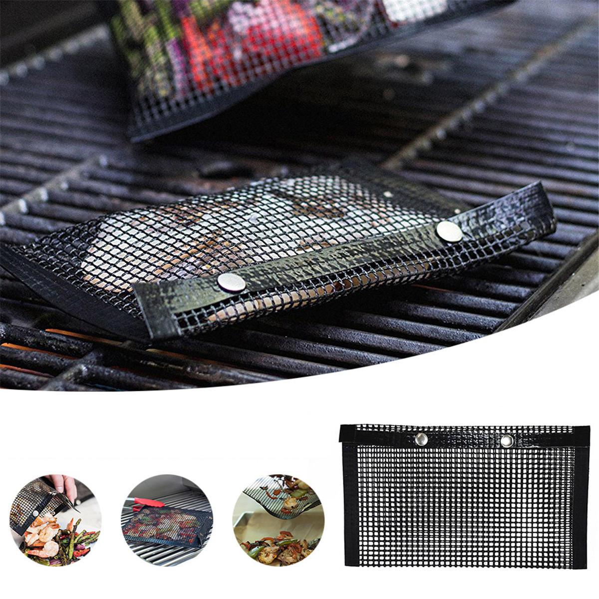 Thịt nướng ngoài trời BBQ Không dính Lưới Nướng Túi Mat Nhiệt độ cao Kháng cắm trại