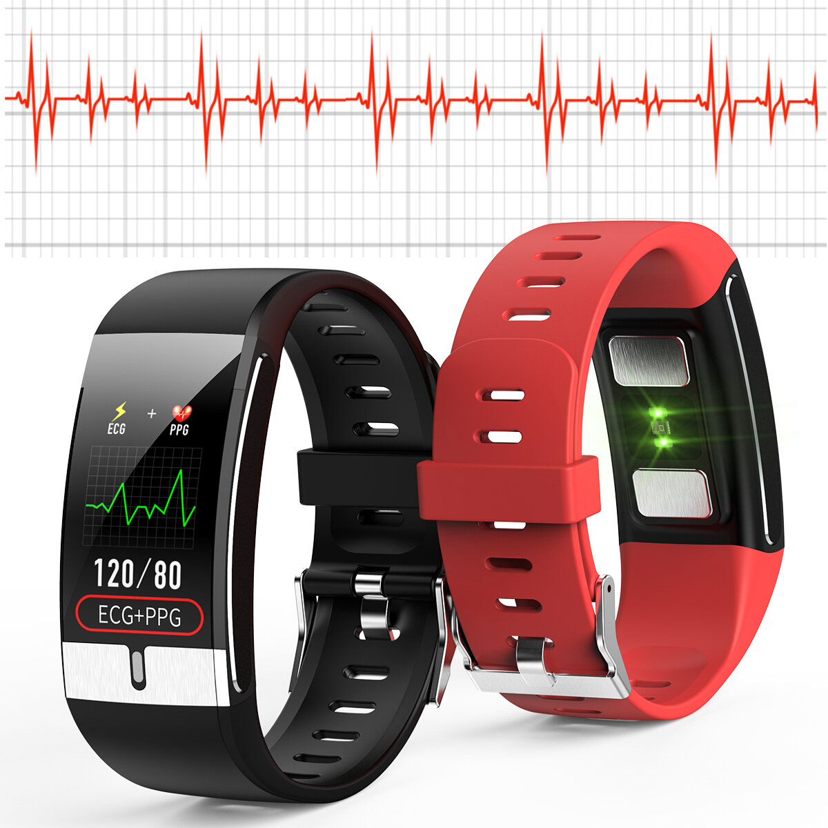 [SPO2 Monitor]Bakeey E66 Thermometer ECG+PPG Heart Rate Blood Pressure Oxygen Monitor IP68 Waterproof USB Charging Smart Watch