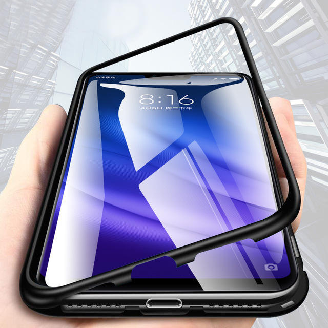 the best attitude 122f9 16535 Bakeey 360° Magnetic Adsorption Metal Tempered Glass Flip Protective Case  for Xiaomi Mi 8 Lite