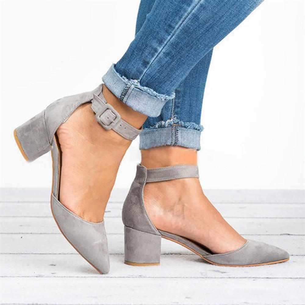Large Size Women Chunky Heel Ankle Strap Pumps