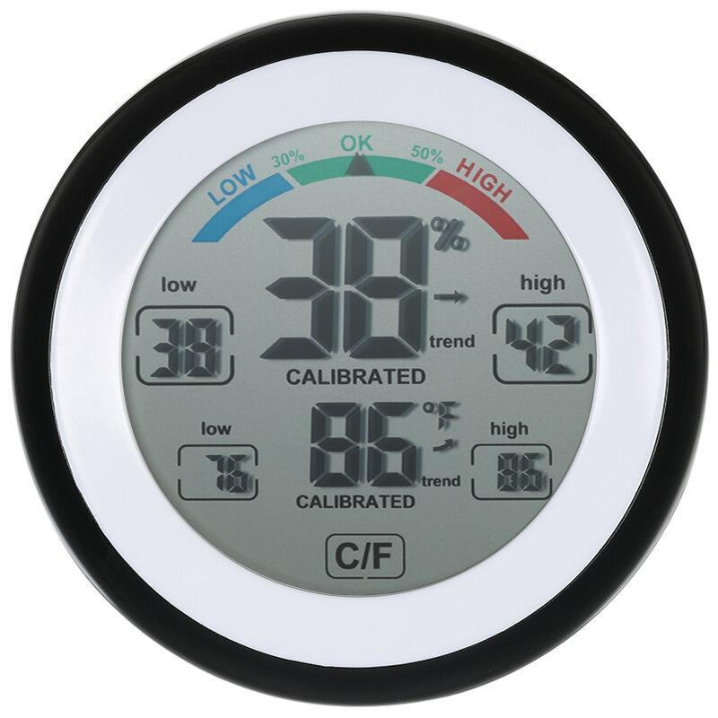 DANIU Multifunktionell Digital Termometer Hygrometer Temperatur Fuktighetsmätare Max Min Value Trend Display ℃ / ℉ Pekskärm