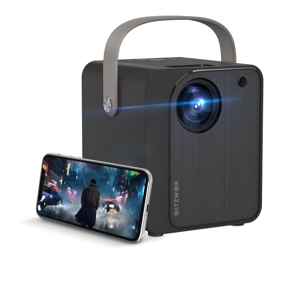 BlitzWolf® BW-VP7 5000 Lux Mini LED Wifi Projector Wireless Screen Mirroring 1080P 170'' Display Supported Portable Outdoor Movie Projector Compatible with Smartphone TV Box HDMI USB AV Theater Projector