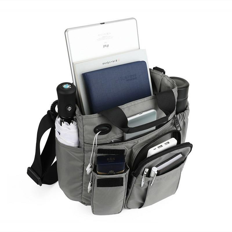 גברים Nylon קל משקל גדול Multi-function Crossbody Bag תיק נסיעות כתף