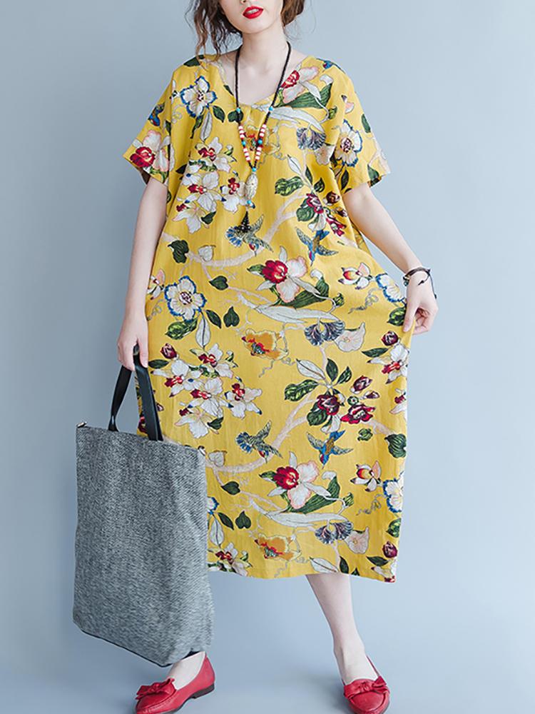 Women Short Sleeve Floral Loose V-neck Pocket Dress