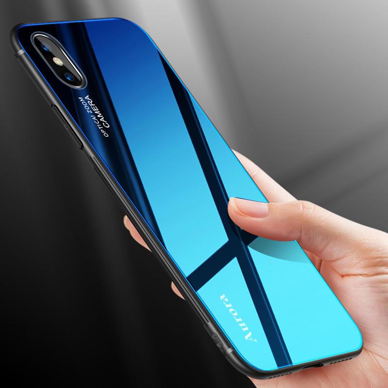 Bakeey Gradient Farge Aurora Blue Ray Tempered Glass Soft Edge Beskyttelsesveske til iPhone X