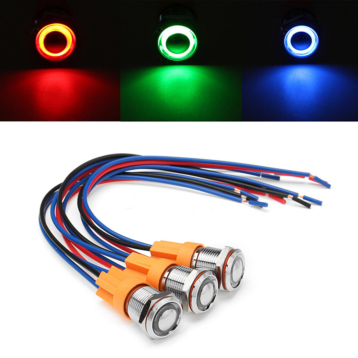 12v-24v 4pin 12mm metal on/off led push button switch wiring harness switch  self-locking waterproof - blue cod