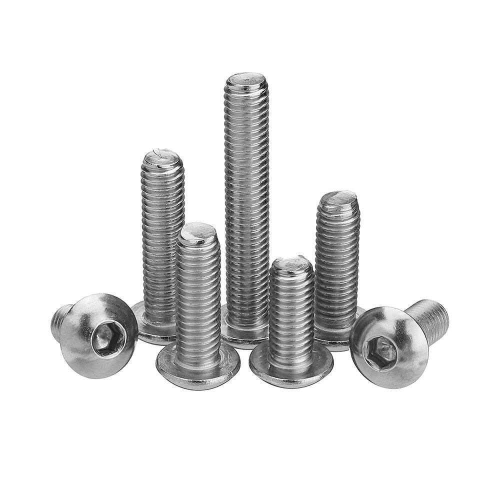 Suleve M5SH6 50Pcs M5 Stainless Steel Hex Socket Button Head Screw Bolt 8-30mm Optional Length