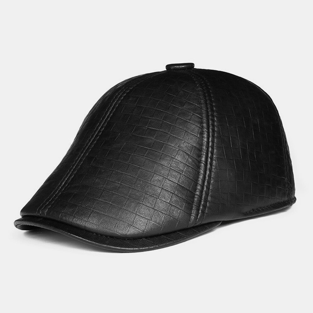 Men Genuine Leather Dome Plaid Pattern Forward Cap Middle-aged Elderly Winter Ear Protection Earmuffs Cool Protection Wi