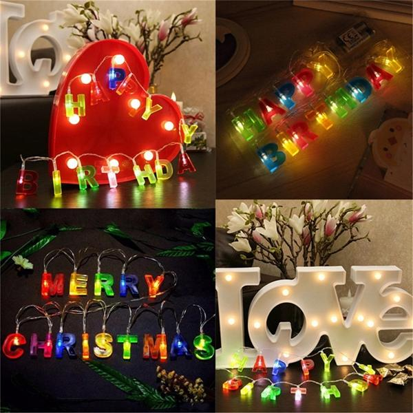 Merry Christmas Lights.Battery Powered Merry Christmas Happy Birthday Colorful Led Fairy String Light For Party Patio