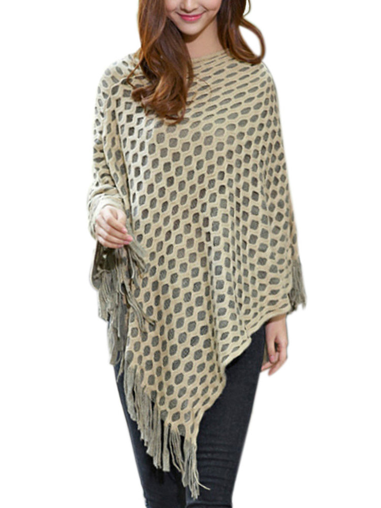 Casual Fringe Knit Hollow Out Solid Color Pullover Women Shawl Coat