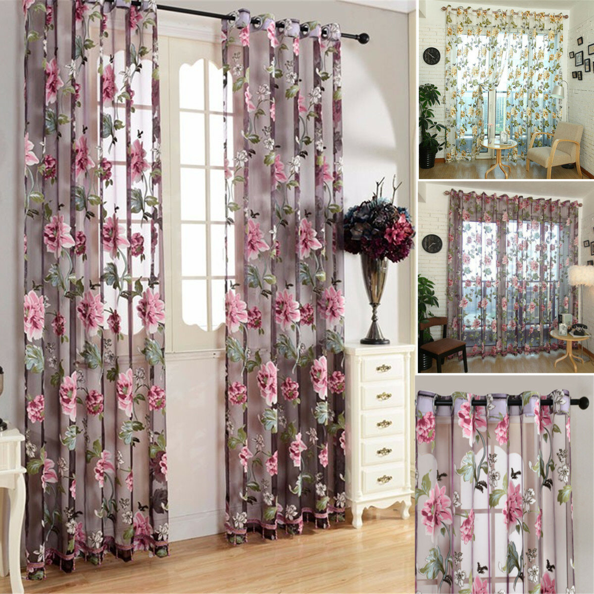 Honana Modern Sheer Curtains for Living Room Floral Tulle Window Treatments Bedroom Flower Panel Drapes for Girl Room  - buy with discount