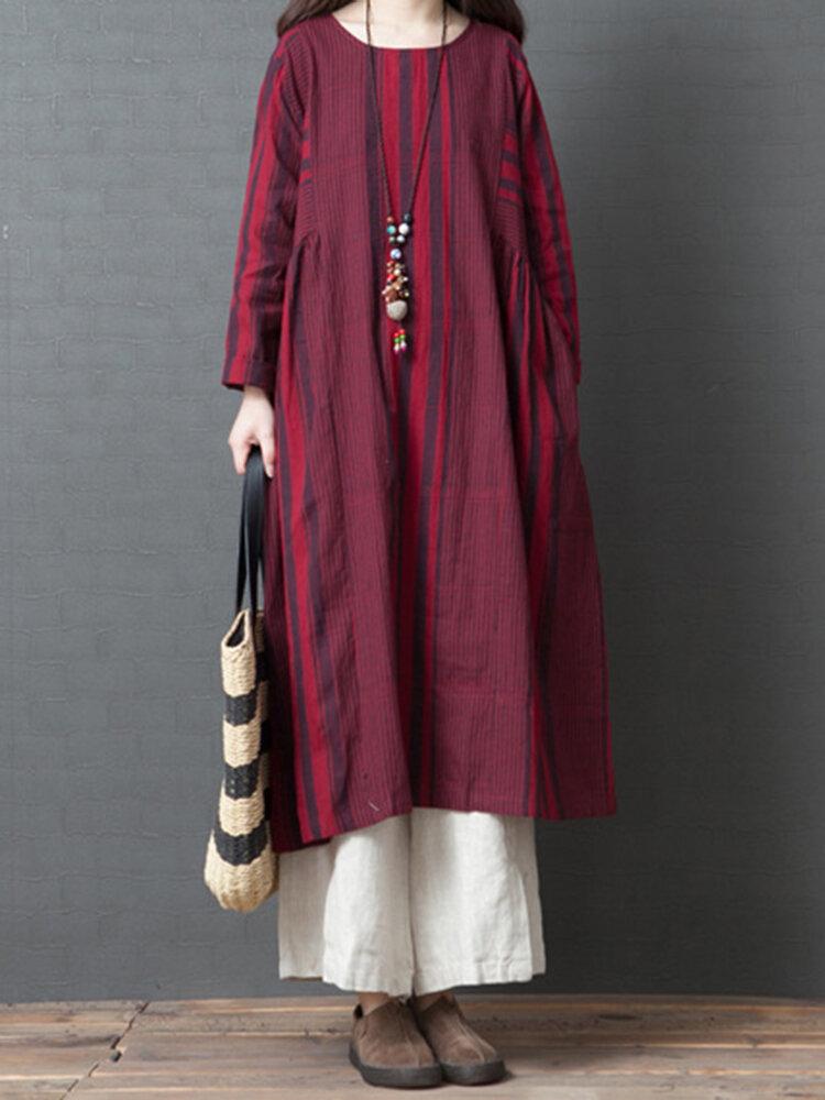Women Vintage Cotton Linen Stripe Long Sleeve Dress