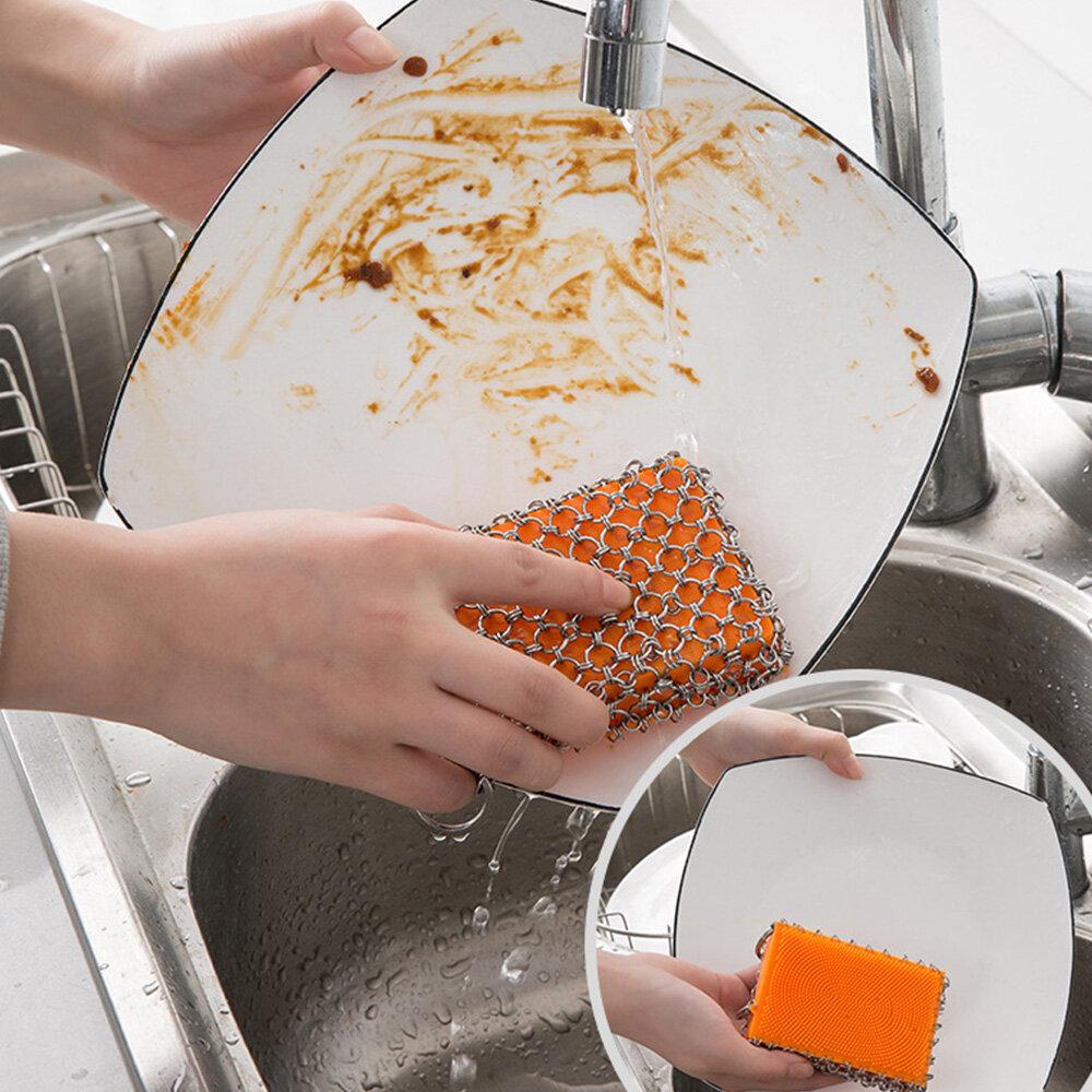 Cocina Silicona Limpieza de macetas Cepillo Red con forma cuadrada Anillo de metal de acero inoxidable Red Cepillo Limpi
